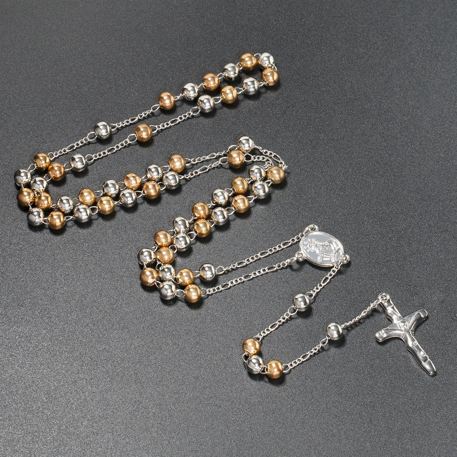 Catholic Rosary Necklace 6mm Silver Gold Color Beads Cross Long Pendant Necklaces Christian & Catholic Church Handmade Jewelry