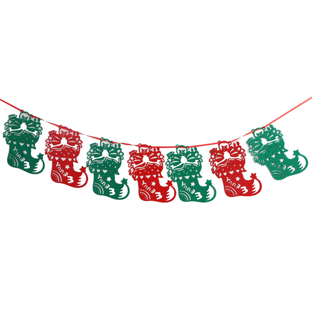 3M Christmas Wall Hanging Drop Ornaments Merry Christmas Tree Socks Deer Flag Floral Bunting Banners Home Shop Market Room Decor