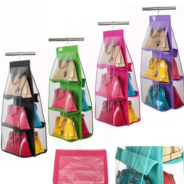 4 Color Storage Organizer Closet Rack Hangers With 6 Pockets For Hanging Bag Purse Handbag