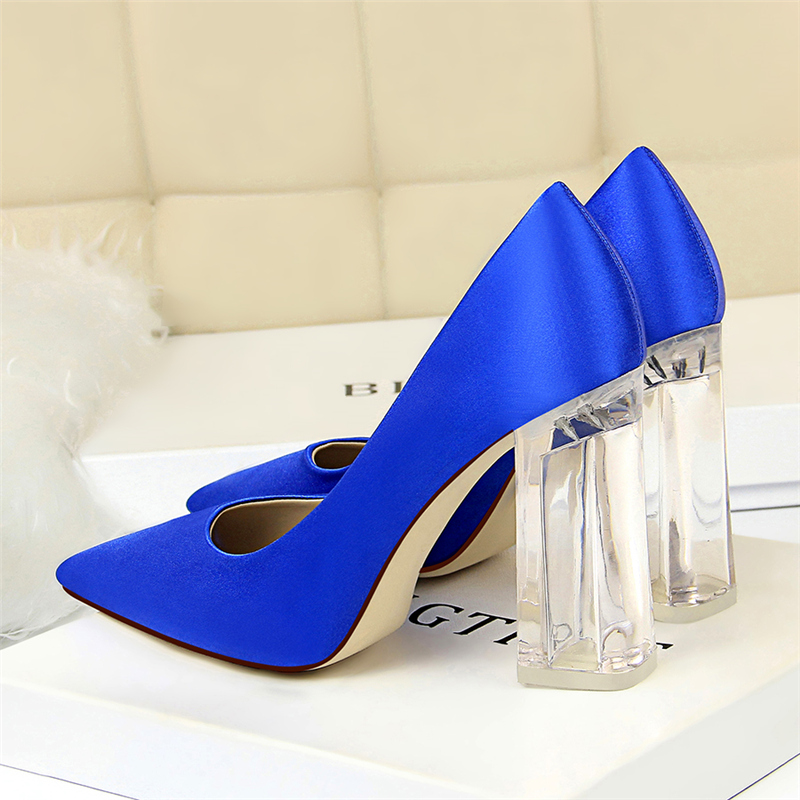 19 Plus Size 43 Women Block 10cm High Heels Lady Scarpins Green Satin Pumps Female Wedding Yellow Blue Silk Transparent Shoes 19