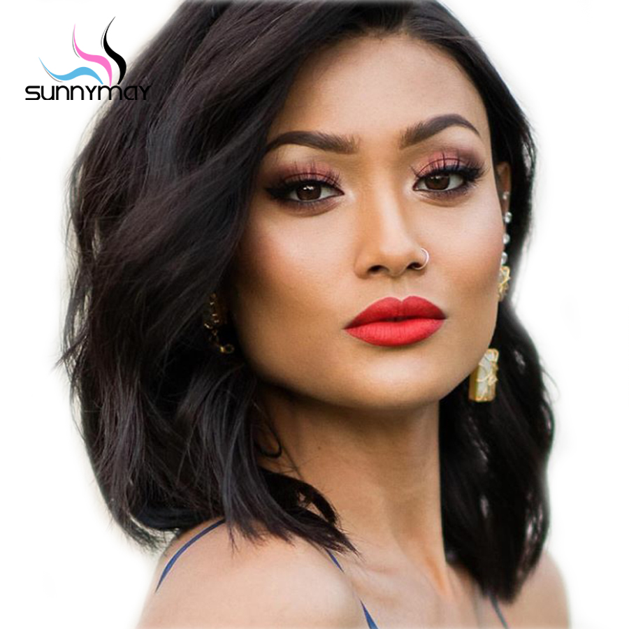 Sunnymay 130% Full Lace Human Hair Wigs With Baby Hair Bleached Knots Glueless Wavy Short Bob Wig Side Part Full Lace Wigs