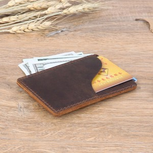 Image 3 - 100 pieces / lot 9.8x7cm Genuine Cow Leather Business ID Card Holder Crazy Horse Leather Travel Credit Wallet Men Purse Case