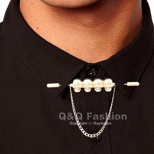 Men Pirate Skull Chain Barbell Shirt Collar Tie Bar Brooch