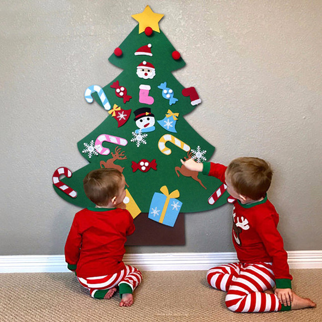 Christmas Gift Ideas 2019 For Kids.Us 10 79 25 Off Kids Diy Felt Christmas Tree Decorations Xmas Hanging Ornaments Home Decor Happy New Year 2019 Children Christmas Gift Supplies In