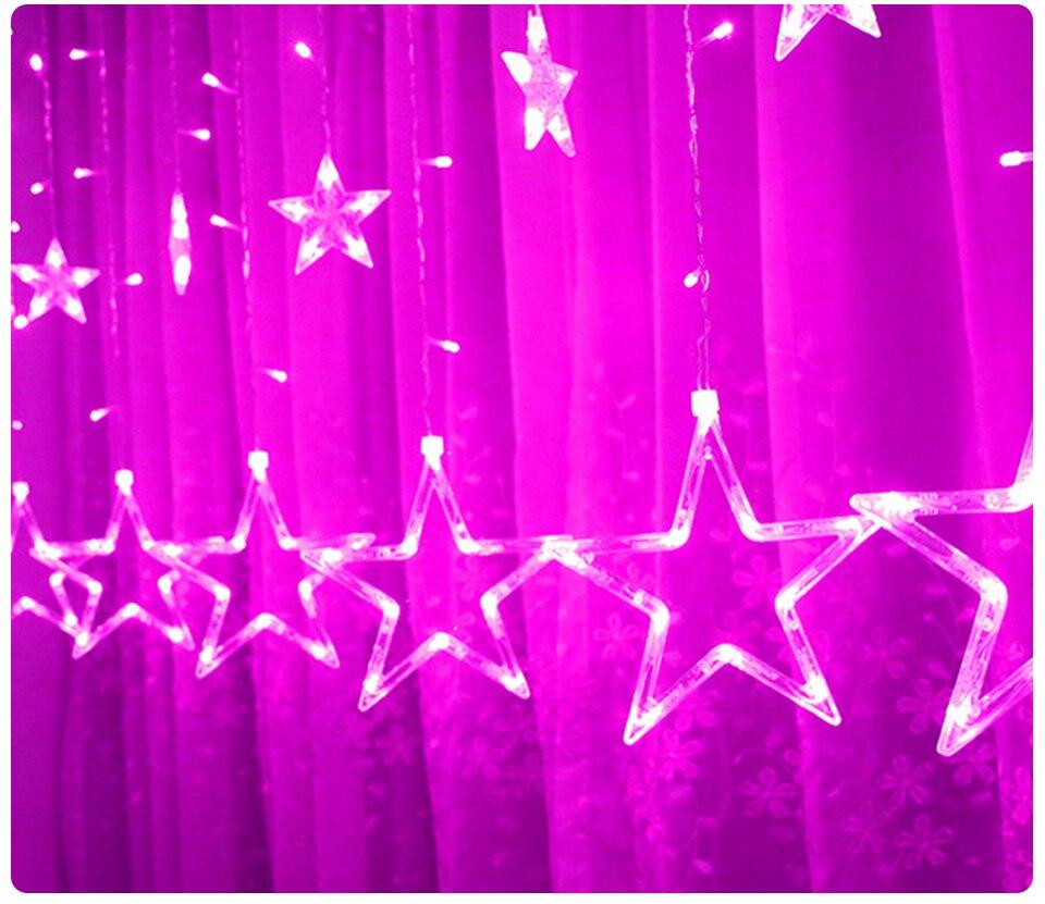 220V LED Holiday String New Year Pentagram Star Curtain Light Fairy Wedding Birthday Christmas Lighting Indoor Decoration Light (13)