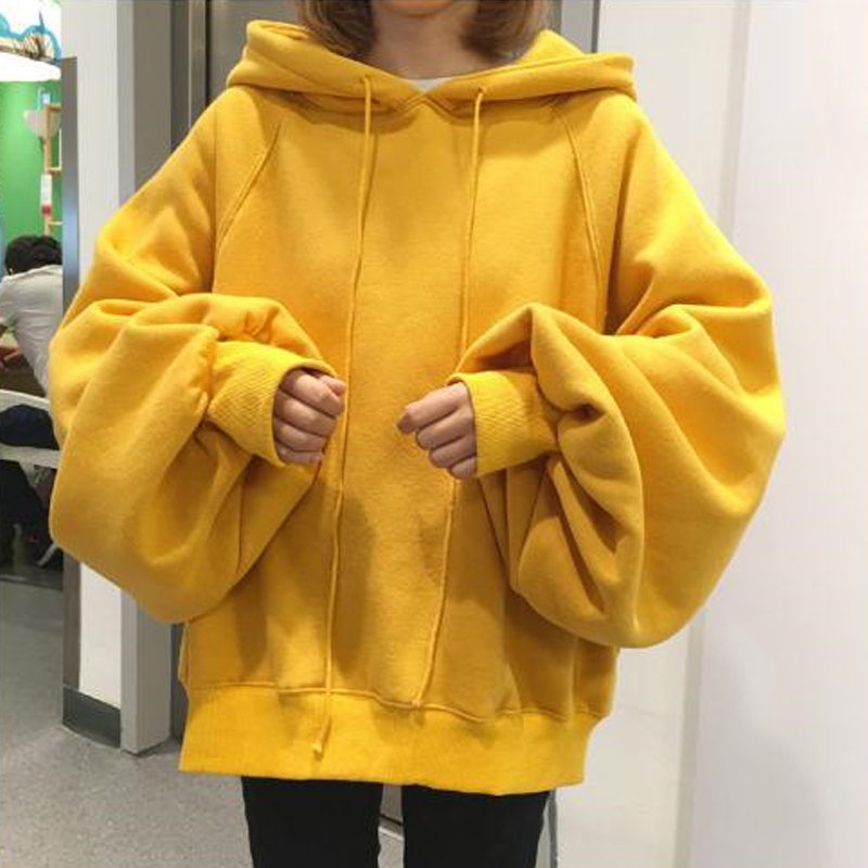 Fanco Long Lantern Sleeve Womens Yellow Hoodies Sweatshirts Oversized Tracksuits Plus Size Hooded Pullovers Tops Sweat Femme