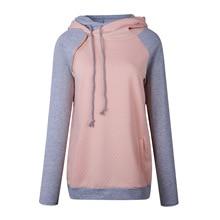 Women Pullover Hoodies Sweatshirts Patchwork Double Hood Hooded Sweatshirt Autumn Coat Warm