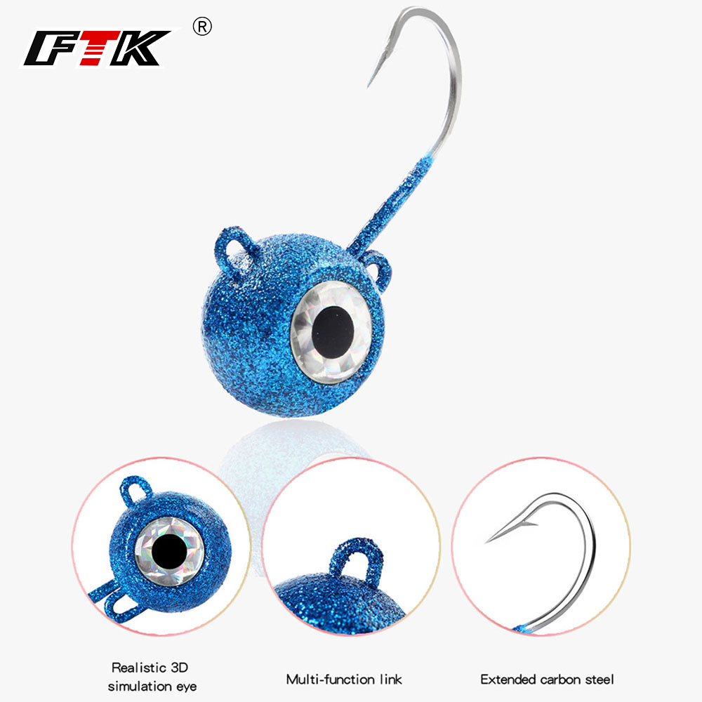 FTK Lead Jig Head Fishing Lure 1PC 120g/140g/160g/180g Bass Bait 3D Eyes Tuna Lure Vivid Body Jigging Sinking Peche
