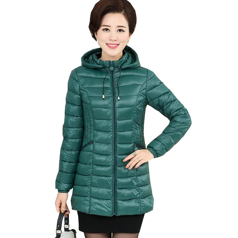 2017 winter Elegant Women's Basic Cotton Down Jacket Female Middle Age Mother Hooded Cotton Padded Female Coat plus size s850 new winter middle age down cotton coats female costume solid color hooded casual tops plus size loose slim mother coat okxgnz831