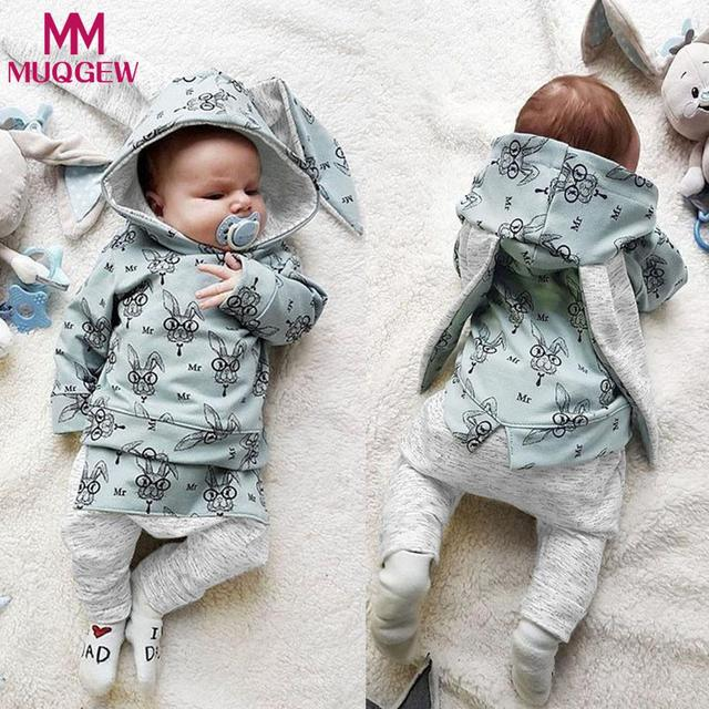 723a58649 MUQGEW Infant Baby Boys Girls Clothes Long Sleeve Rabbit Print Hooded Tops+ Pants  Set Outfits for girls roupa infantil