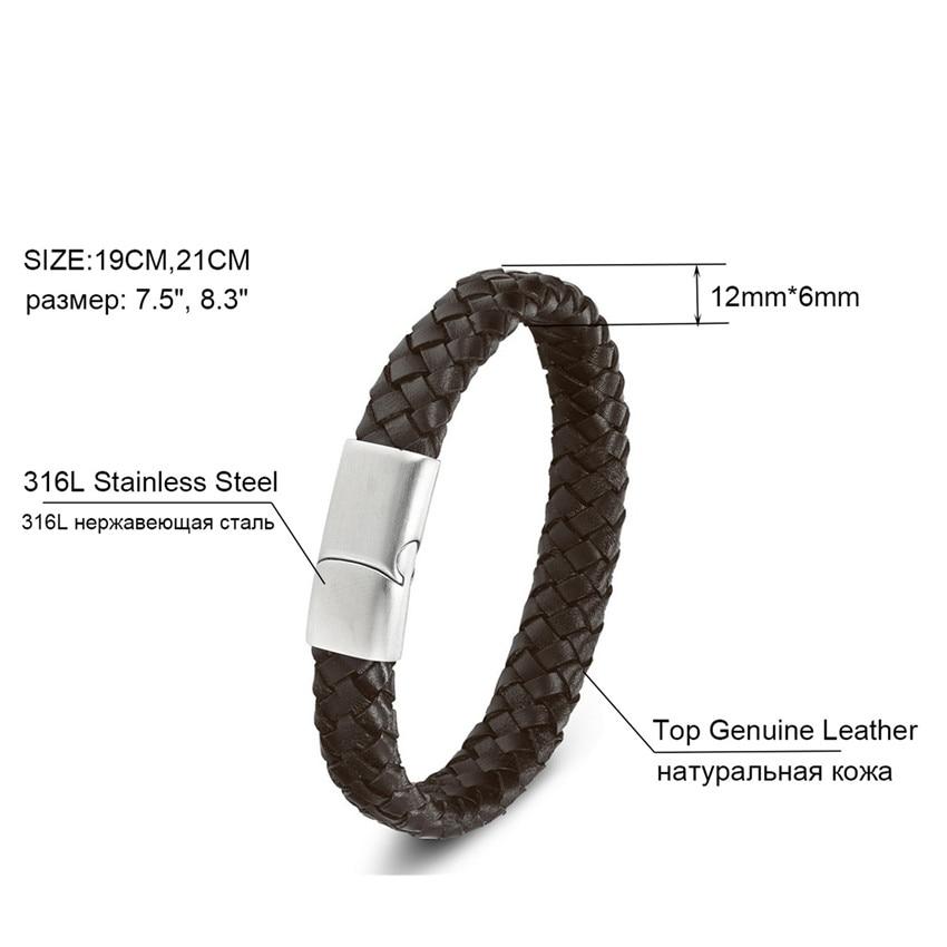 XQNI Top kvalitet 3 farve flettet ægte læder armbånd til mænd - Mode smykker - Foto 5