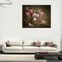 OKHOTCN DIY Painting By Numbers Hand Painted Oil Painting On Canvas Pink Rose Flower Vase Wall