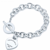 Heart Sterling Silver chain Bracelets 100% 925 Silver Heart Tag Bracelet Toggle Tiff New Bracelet To Woman Jewerly Original Logo
