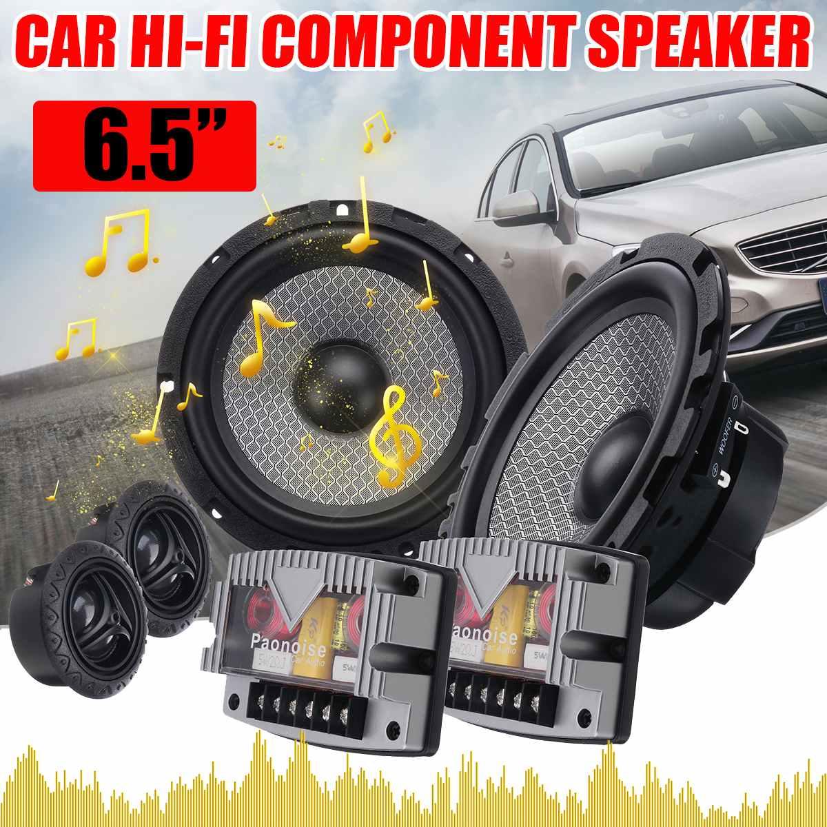 6.5 pouces 400 W voiture Audio HiFi composant haut-parleur système 2 voies 25mm dôme Tweeter 1 pouce ASV bobine vocale pour voiture porte avant Audio