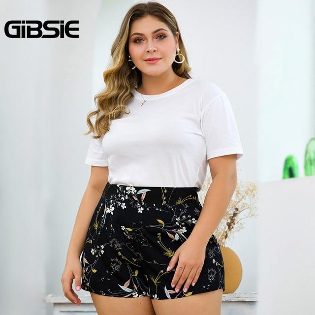 GIBSIE Plus Size Women Print Casual Shorts Zip Back High Waist Shorts 2019 Ladies Big Size Pocket Summer Shorts for Women 4