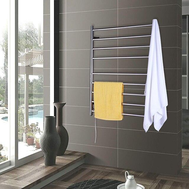 Wide Bars Stainless Steel Polish Towel Drying Rack Wall Mount Style Warmer Rail Bathroom