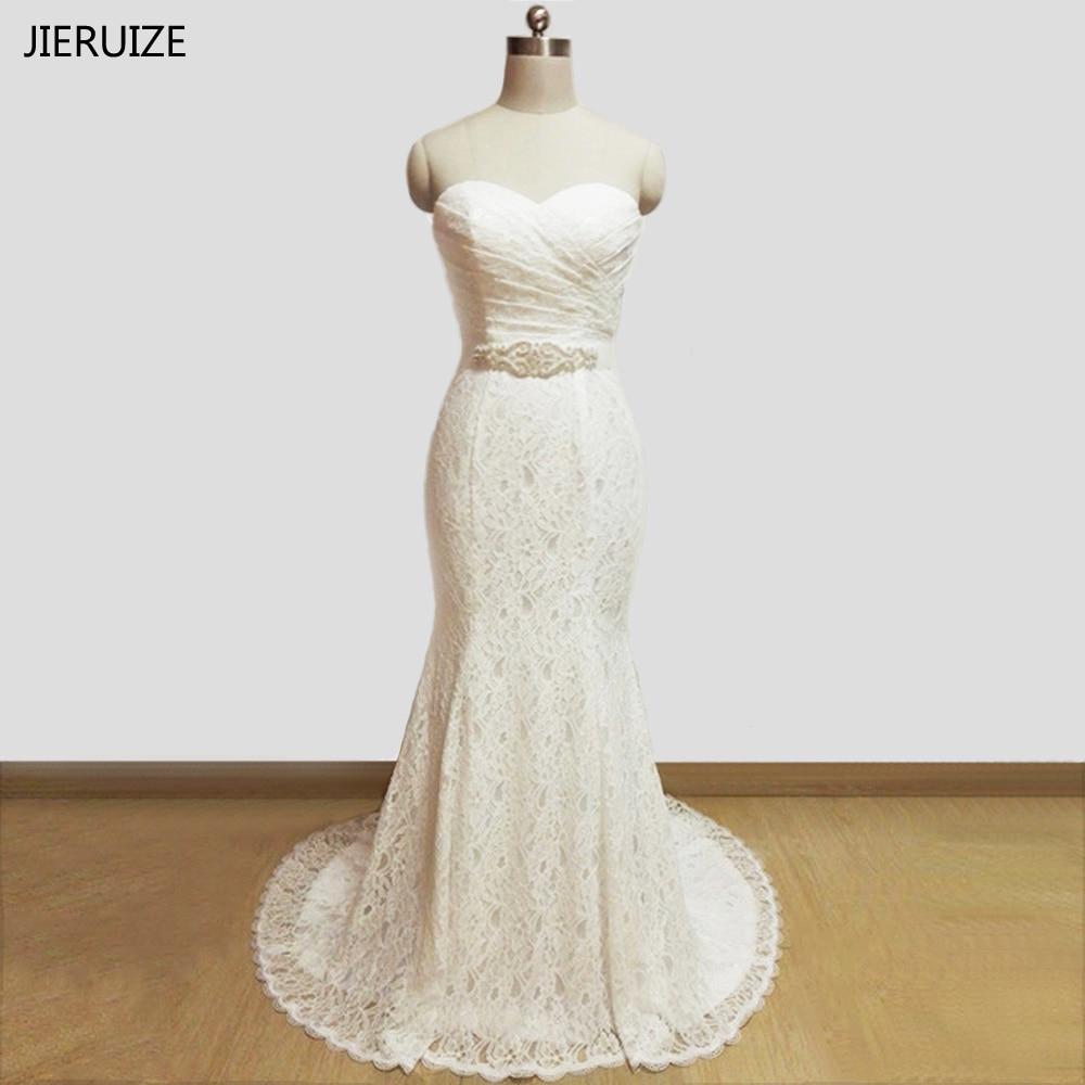 JIERUIZE Vestidos De Novia White Lace Mermaid Wedding Dresses Sash Sweetheart Lace Up Back Wedding Gowns Abiti Da Sposa