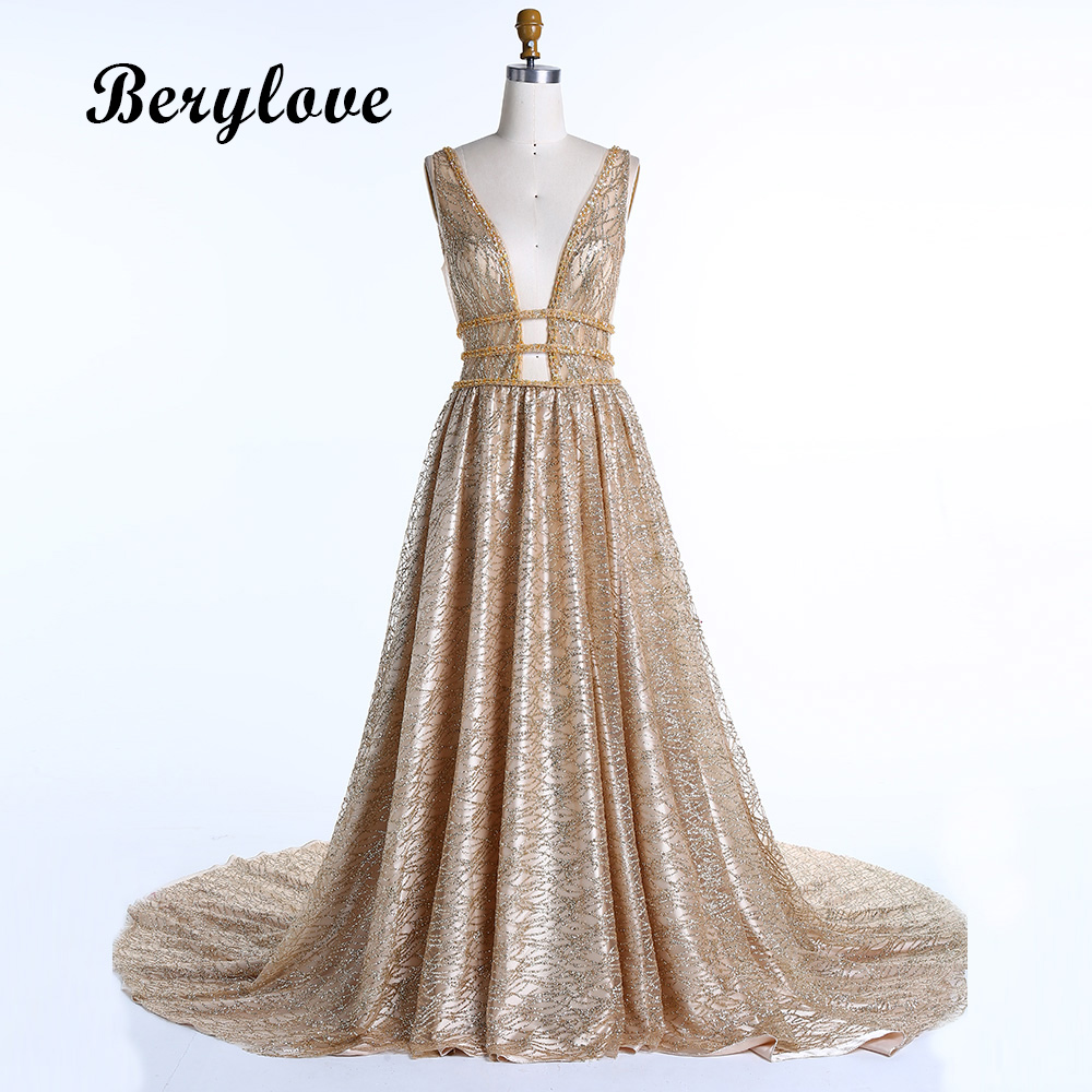 BeryLove Gold Sequins Evening Dresses 2018 Golden Deep V Neck ...