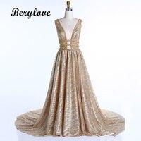 BeryLove Gold Sequins Evening Dresses 2018 Golden Deep V Neck Backless Evening Gowns Women's Formal Evening Dresses Party Gowns