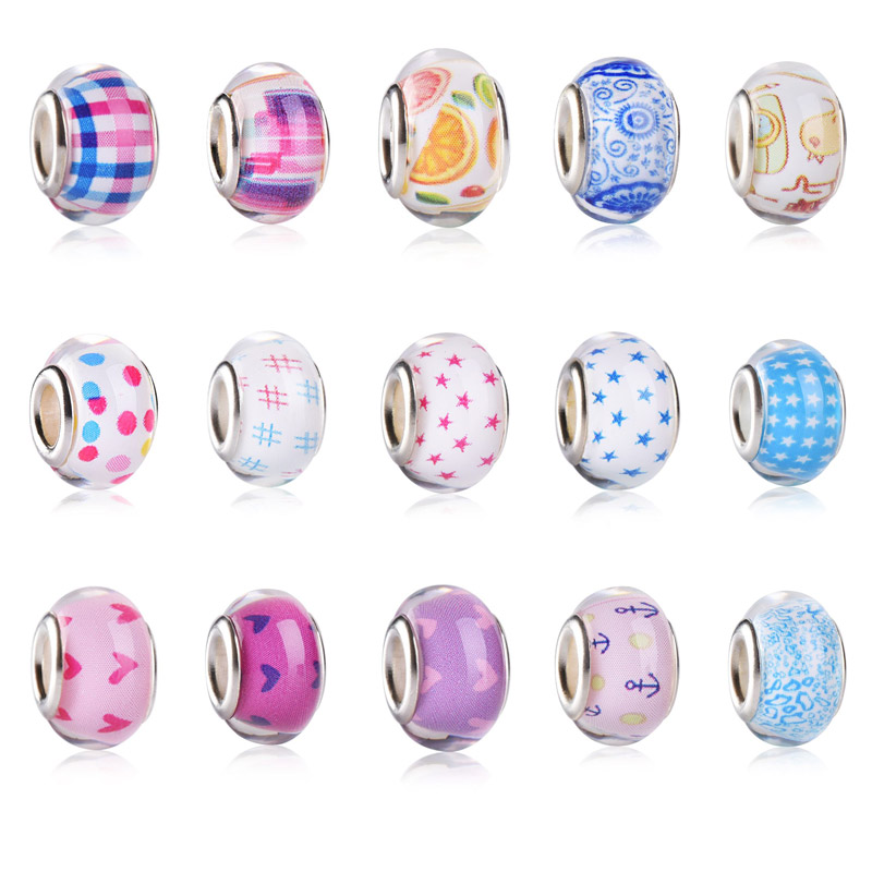 Summer Simple Pure Pattern Color Loose Acrylic Plastic Bracelet Bead Charms Big Hole fit for European Pandora DIY Jewelry Making