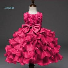 JaneyGao/ г. Новое поступление, платье с цветочным узором для девочек красное элегантное детское торжественное платье с бантом для свадебной вечеринки, розовое, голубое, фиолетовое, белое