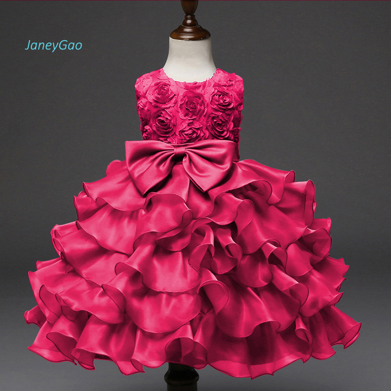JaneyGao 2019 New Arrival   Flower     Girl     Dress   Red With Bow Elegant Kids Formal Gown For Wedding Party Pink Blue Purple White