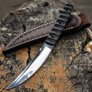 Image 2 - سكين عسكري تكتيكي ثابت لصيد البلدي في الخارج سكاكين نجاة على قيد الحياة سكين صيد برية للتخييم سكاكين + غمد جلدي