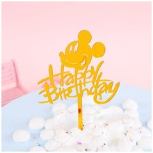 1pcs/lot Acrylic Mickey Cake Ice Cream Topper Baby shower party Children Birthday Party Decorations