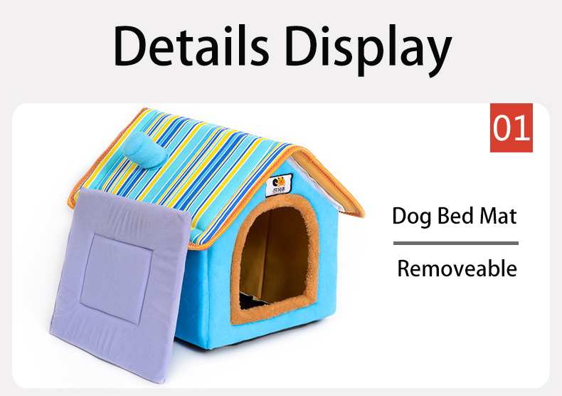 XS-L Pet Cat Dog Bed House Washable Waterproof &no Fade Small Pet House Hand Wash & Mechanical Wash Breathable Dogs Cage 4