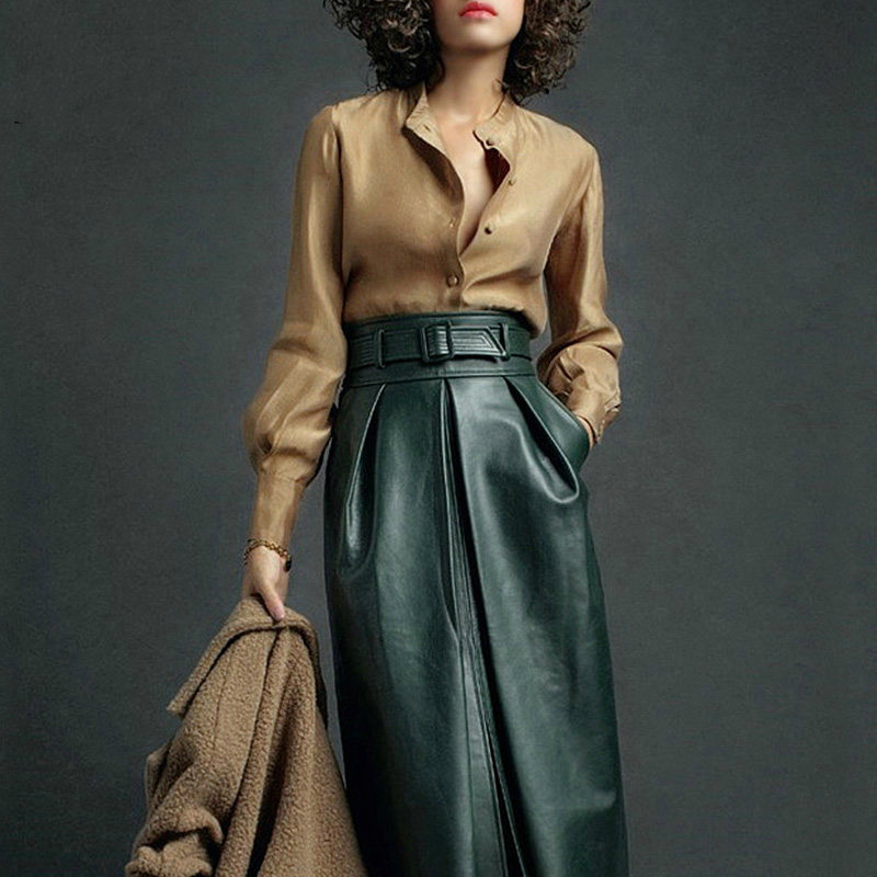 European And American Fashion Leather Skirt Fashion Temperament High Waist PU Skirt Two-piece Slim Suit Women's Clothing