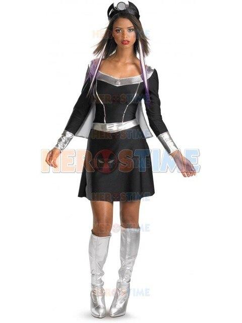 Classic X,men Storm Dress Black And Silver Spandex Superheros X,men Storm  Costumes Halloween Cosplay Zentai Suit free shipping