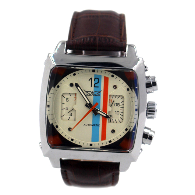 JARAGAR Mens Automatic Mechanical Watch Men Famous Brand Brown Leather Strap Casual Square Wristwatch Male Clock Relojes Hombre