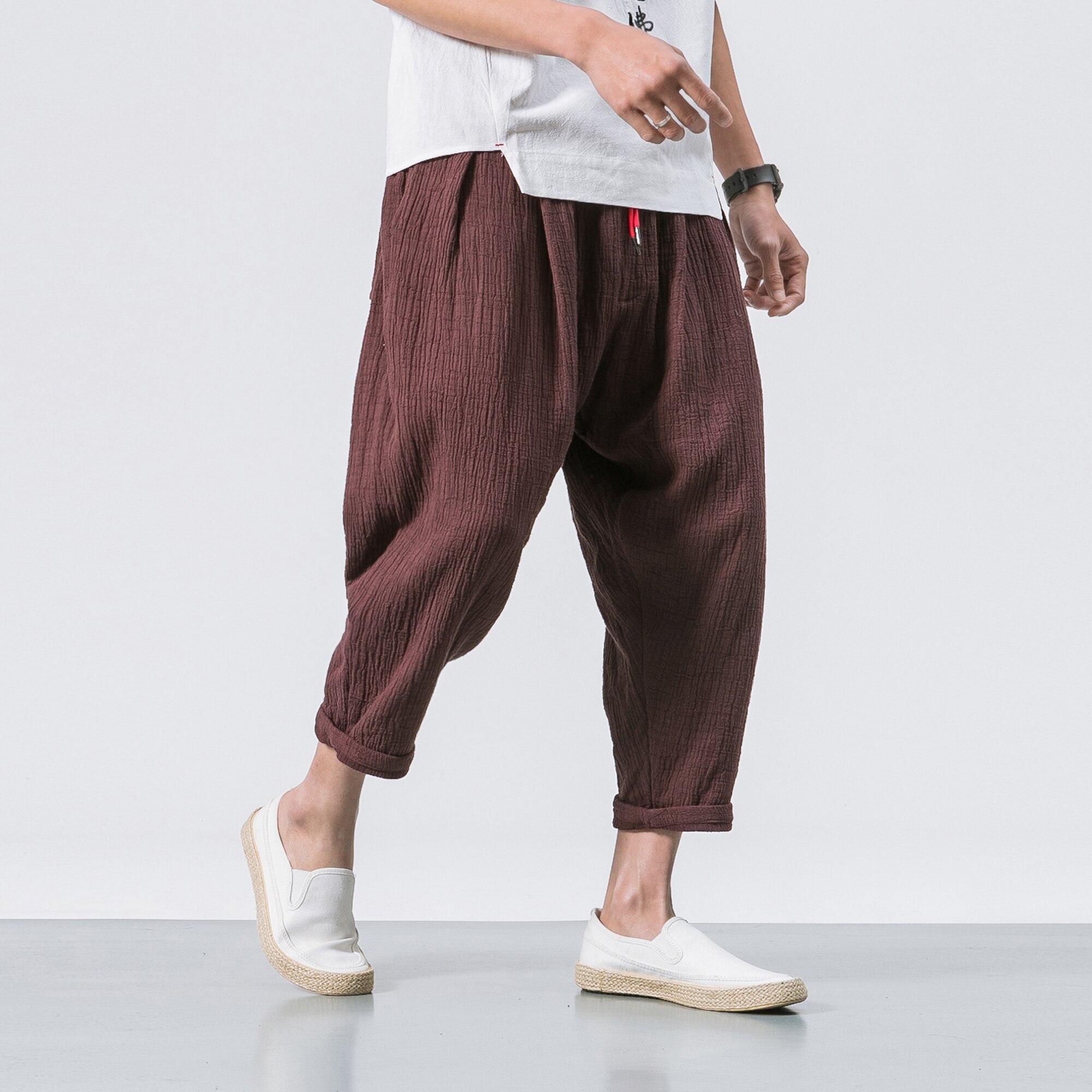Mens summer loose cotton linen breathable shorts casual pants trousers plus sz