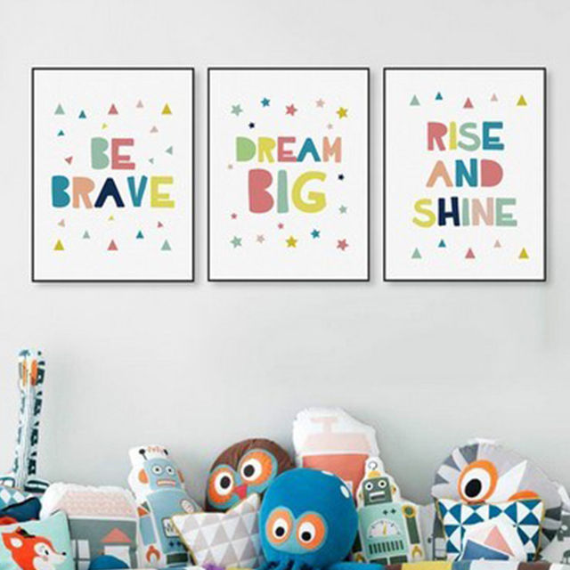 Kawaii Minimalist Colorful Brave Dream Motivational Canvas Poster Print Nursery Wall Art Baby Room Decor