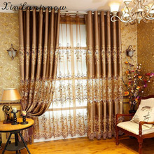 European Style Water Embroidered Silk Fabric, Golden Embroidery Shading  Curtains For Living Dining Room Bedroom