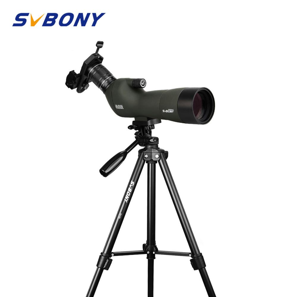 SVBONY SV29 Spotting Scope 23mm Eyepiece 20-60x60 BAK4 9pcs/4 Groups Waterproof Zoom Telescope w/ Cell Phone Adapter+High Tripod