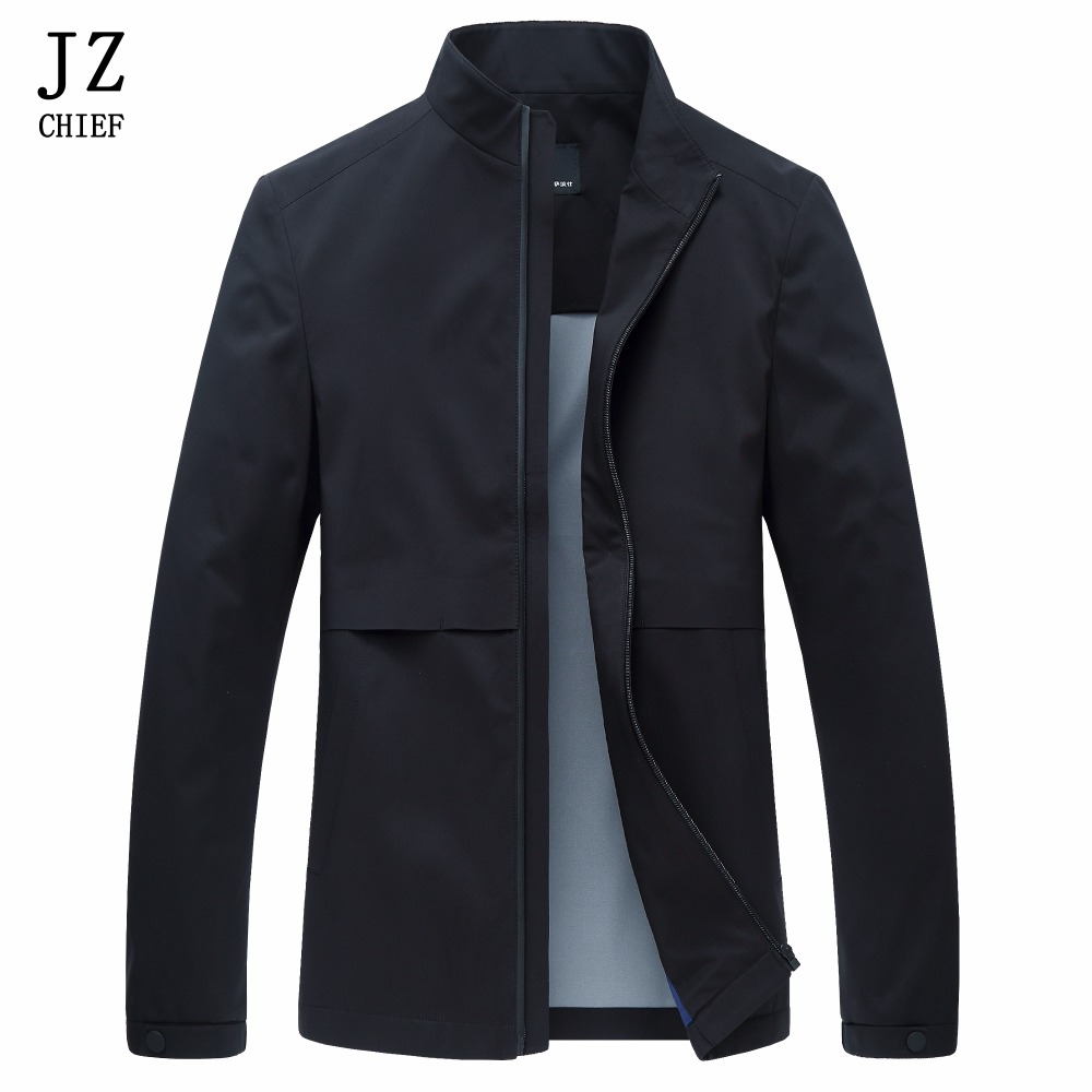 JZ CHIEF Mens Mandarin Coat Jacket Motorcycle Rib sleeve Jackets Men Fashion Zipper Over ...