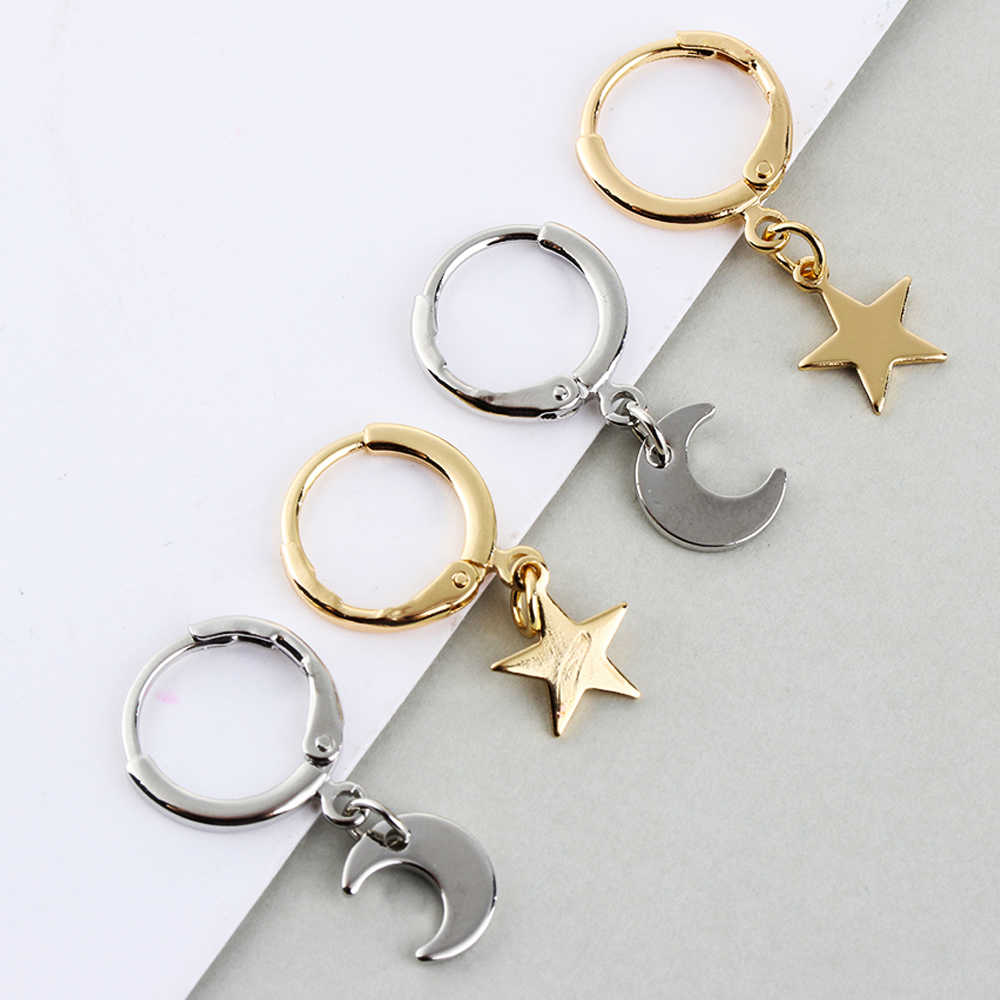2019 Fashion 1 Pair Gold Color Small Star Tiny Moon Charms Hoop Earrings For Women Ear Piercing Earrings Simple Jewelry Gifts