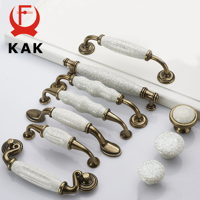 KAK Antique Bronze Crack Design Ceramic Cabinet Handles Zinc Alloy Drawer Knobs Wardrobe Door Handle European Furniture Hardware