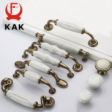 KAK Antique Bronze Crack Design Ceramic Cabinet Handles Zinc Alloy Drawer Knobs Wardrobe Door Handle European Furniture Hardware
