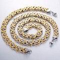 CUSTOMIZE SIZE 11mm Byzantine Box JEWELRY SET Stainless Steel Necklace Bracelet Chain Mens Chain Jewelry Set  KS15