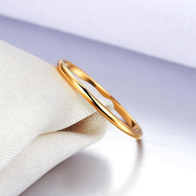 18k Złoto Kobiety Pierścionki Piękne Wykwintne Gładkie Klasyczne - Wykwintna biżuteria - Zdjęcie 4