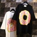 Poleras de mujer hipster marca vestuário de estilo harajuku verão mulheres tamanho grande Rosquinhas pizza camisetas moda camisetas whtie preto