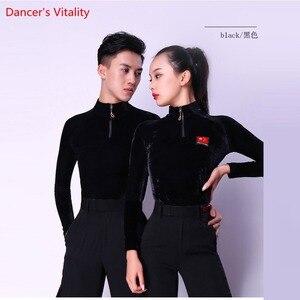 Image 1 - Ballsaal Sexy Langarm Moderne Latin Dance Kleidung Tops Für Frauen/Mann neue Mode Kostüm Leistung Trägt