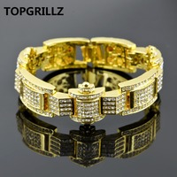 TOPGRILLZ New Style AAA Rhinestone Super Cool Men S Bracelet Gold Silver Black Three Colors Iced