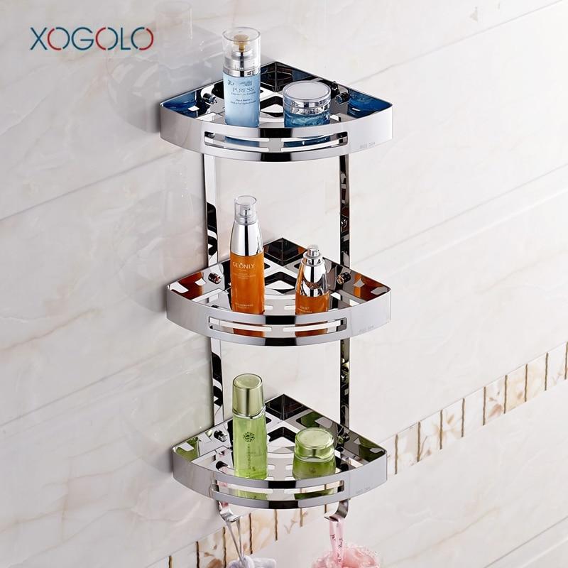 Xogolo triplo camada de aço inoxidável 304 multifuncional resistente canto prateleira do banheiro prateleira parede moderna banheiro rack acessórios