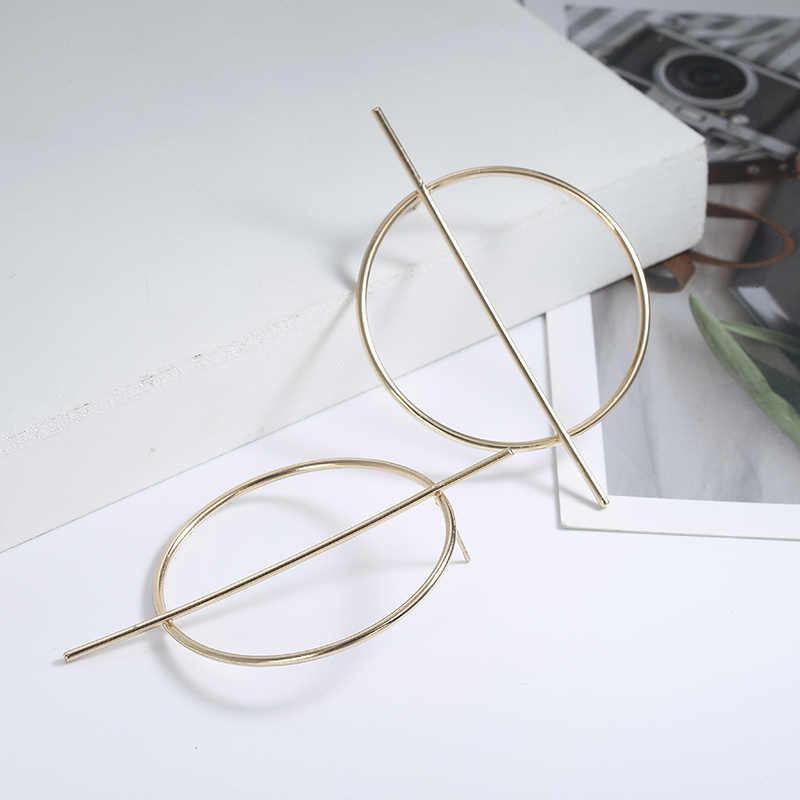 Модные минималистичные геометрические круглые серьги, темпераментные серьги, длинные женские серьги-гвоздики для женщин