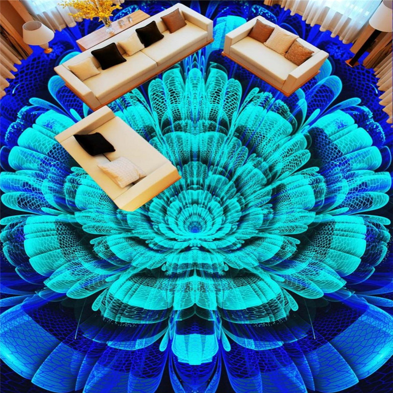 Beibehang Bedroom bathroom decoration 3D wallpaper floor fantasy blue flower photo mural non-slip waterproof 3d wallpaper free shipping super eye lash curling perming curler rod eye eyelash perm eyelash wave lotion last up to 3 months