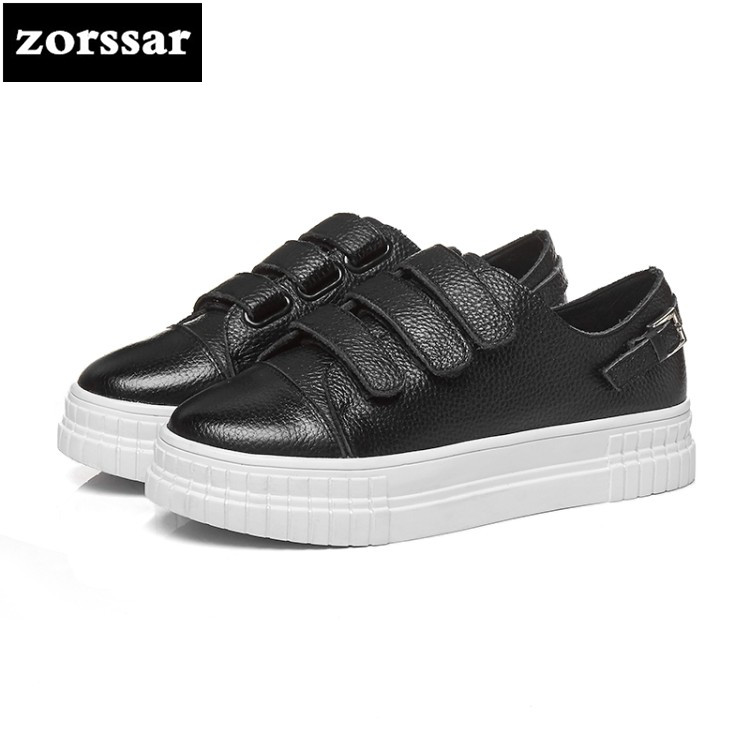 {Zorssar} Brand 2018 NEW outdoor walk Women Sneakers Casual Shoes flat Cow Leather Female Lazy Shoes Ladies White Student shoes hellyhansen women s outdoor casual shoes leather shoes flat shoes