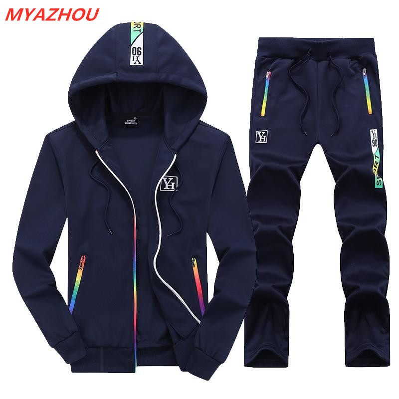 2019 Autumn Men's Sports Suit Mens Hoodie Casual Color Zipper Slim Sportswear Personality Printing Men Street Jogging Sports Set